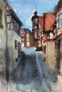 Heppenheim - Blick zum Marktplatz aus der Kellereigasse